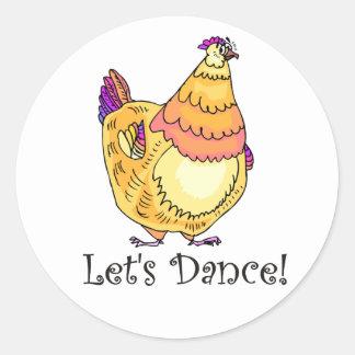 Chicken Dance Classic Round Sticker
