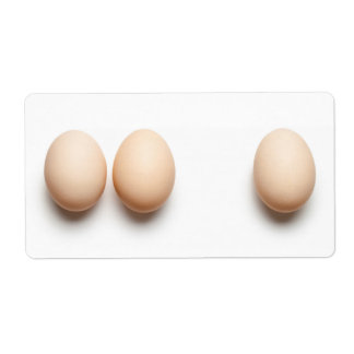 Chicken Eggs On White Background. Top View Shipping Label