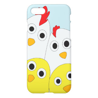 Chicken Family Blue Background Glossy iPhone 8/7 Case