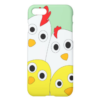 Chicken Family Blue Background Matte iPhone 8/7 Case