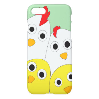 Chicken Family Green Background Glossy iPhone 8/7 Case