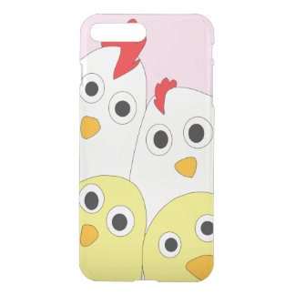 Chicken Family Pink Background Clearly iPhone 8 Plus/7 Plus Case