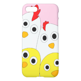Chicken Family Pink Background Matte iPhone 8/7 Case