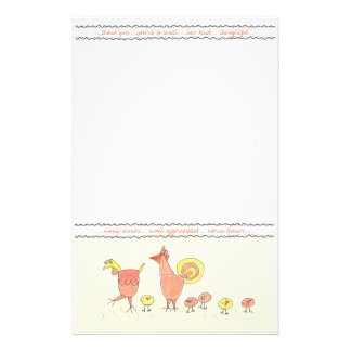 Chicken Family Thank You Note Paper Customized Stationery