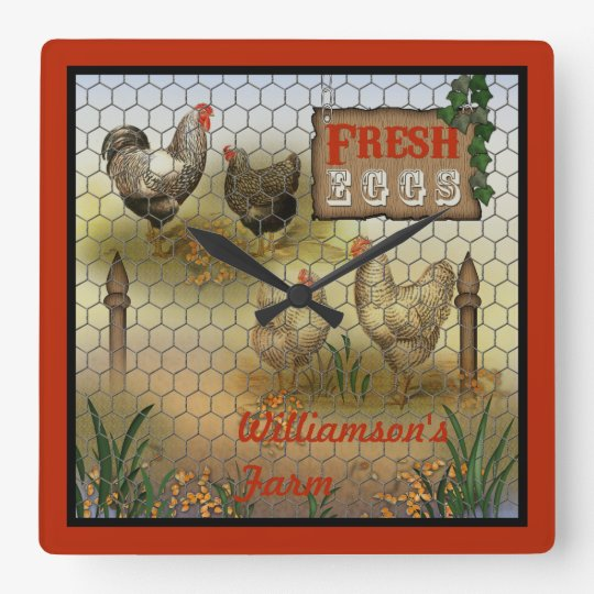 Chicken Farm Yard Fresh Eggs Vintage Square Wall
