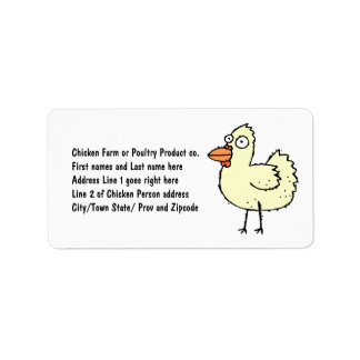 Chicken Farmer Cartoon Hen Address Label