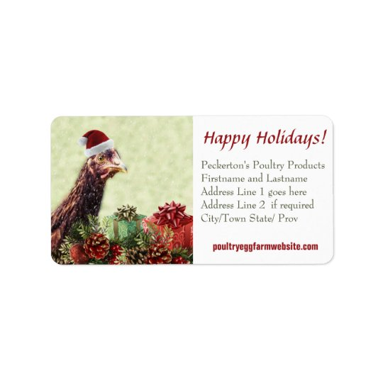 Chicken Farmer Xmas Hen Customised Business Label