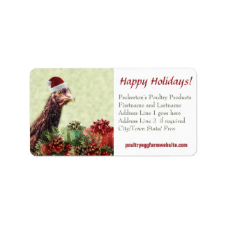 Chicken Farmer Xmas Hen Customized Business Address Label
