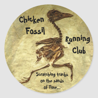Chicken Fossil Running Club Round Sticker