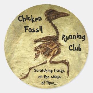 Chicken Fossil Running Club Round Sticker