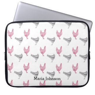 Chicken hand-drawn pattern | customise name. laptop sleeve