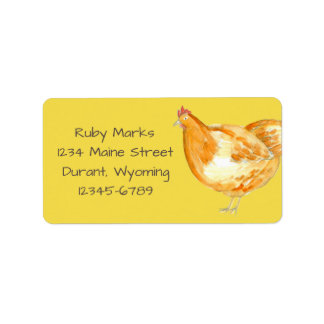 Chicken Hen Bright Yellow Address Label