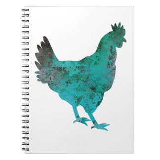 Chicken Hen Teal Blue on White Background Notebook
