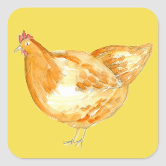 Chicken Hen Yellow Square Sticker