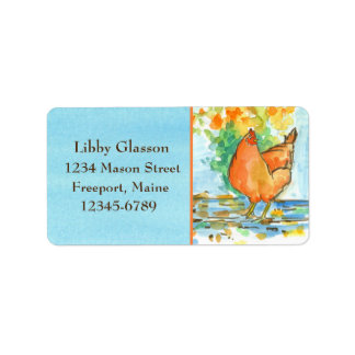 Chicken Hens Fall Leaves Blue Watercolor Address Label