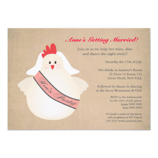 Chicken Hens Girls Night Pre Wedding Party Invite