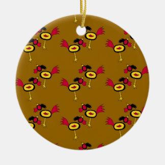 chicken hop round ceramic decoration