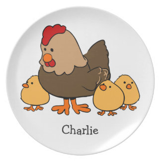Chicken illustration custom name melamine plate