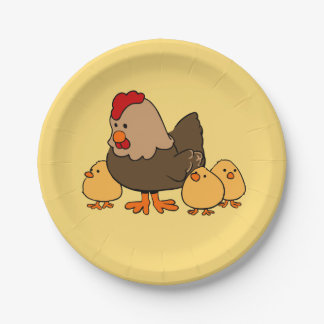 Chicken illustration kids' paper plates