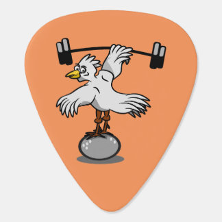 Chicken lifting weights guitar pick