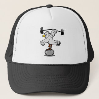 Chicken Lifting Weights Trucker Hat