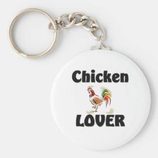 Chicken Lover Basic Round Button Key Ring