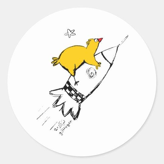 Chicken on the rock classic round sticker