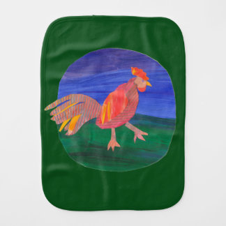 Chicken or Rooster Farm Baby Burp Cloth Green