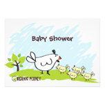 Chicken Organic Planet Baby Shower Invitations