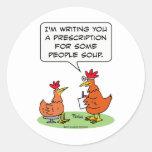 chicken people doctor patient soup round sticker