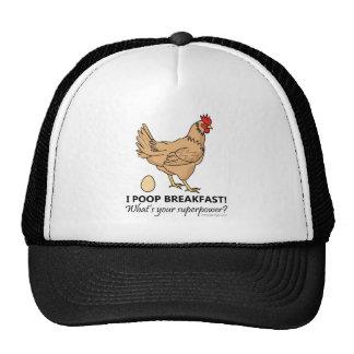 Chicken Poops Breakfast Funny Design Cap