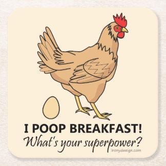 Chicken Poops Breakfast Funny Design Square Paper Coaster