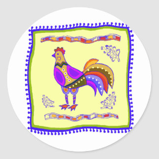 Chicken Quilt Classic Round Sticker