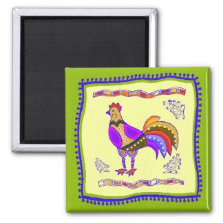 Chicken Quilt Square Magnet