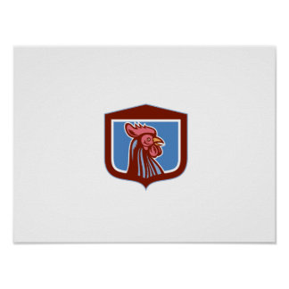 Chicken Rooster Head Side View Shield Retro Poster
