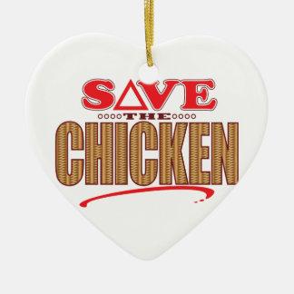 Chicken Save Ceramic Heart Decoration