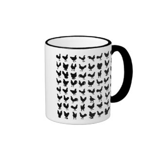 Chicken Silhouettes Ringer Mug