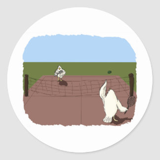 Chicken Tennis Classic Round Sticker