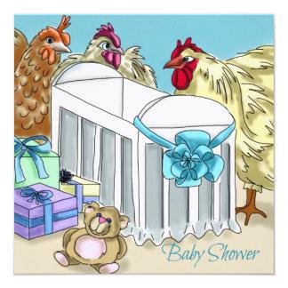 Chicken themed baby shower invitation.