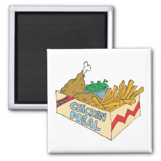 chicken value meal in a box square magnet