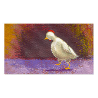 Chicken walking thinking fun unique colorful art business cards