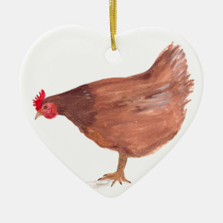 Chicken watercolor painting hen art christmas ornament