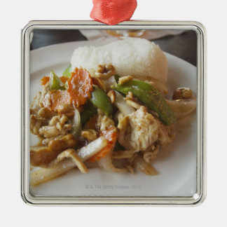 Chicken with Cashews Silver-Colored Square Decoration