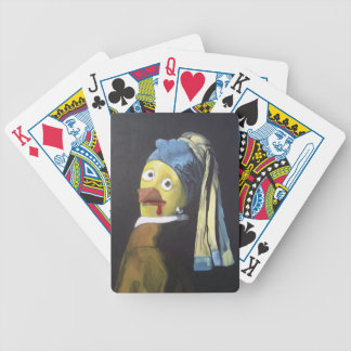 chicken with pearl ear ring deck of cards