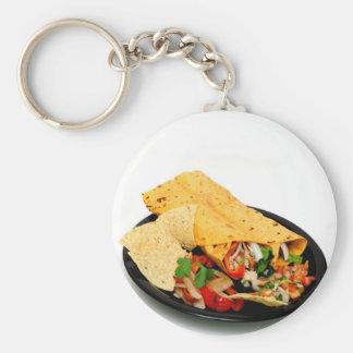 Chicken Wrap Basic Round Button Key Ring