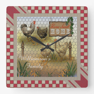 Chicken Yard Home Sweet Home Vintage Square Wall Clock