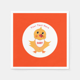 Chicken Yellow Baby Chick Personalized Paper Serviettes