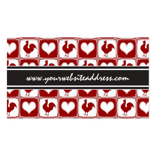 Chickens and Hearts Rooster Pattern Business Card Template