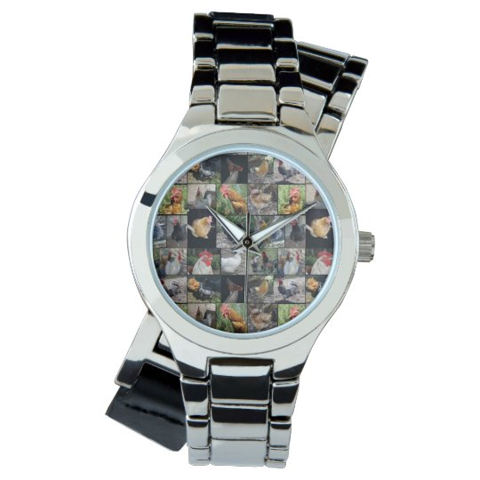 Chickens And Roosters Ladies Silver Wrap Watch