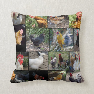 Chickens And Roosters Photo Collage, Cushion